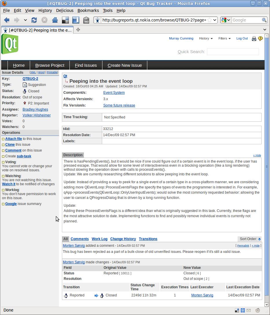 Qt's Open Bug Tracker | Murray's Blog